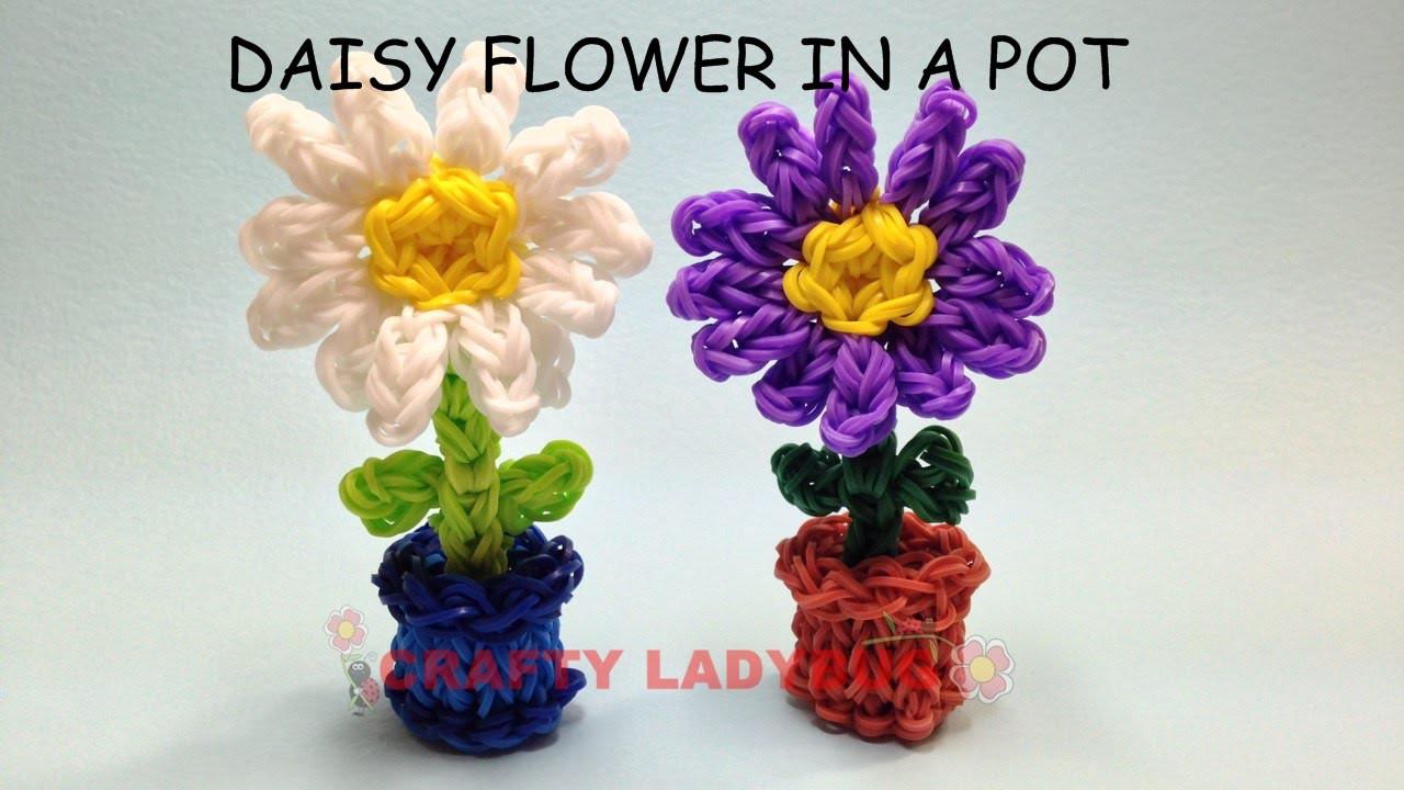 Rainbow Loom 3D DAISY FLOWER IN POT Adv Charm Tutorials by Crafty Ladybug. Wonder Loom, DIY LOOM