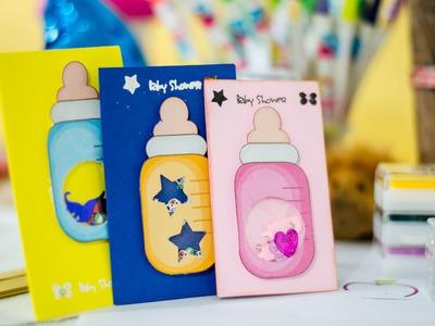 Tutorial: como hacer una tarjeta agitable  para baby shower shaker card DIY