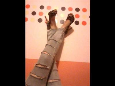 Tutorial de Customização: Calça jeans rasgada DIY
