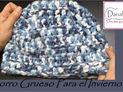 Tutorial  de Gorro Grueso a Crochet. Zurdo