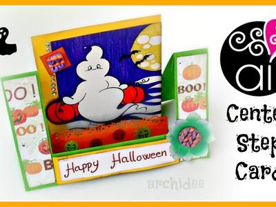 Tutorial | Scrapbooking | Center Step Card | Halloween | DIY