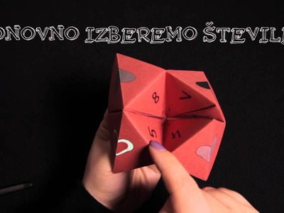 Uporaba origami žabice. how to use origami fortune teller