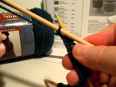 Casting On the Bernat Work Sock Cup Cozy (knit)