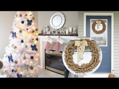 Christmas Decorations ❄ DIY Burlap Wreath + Living Room Tour! | Charmaine Dulak