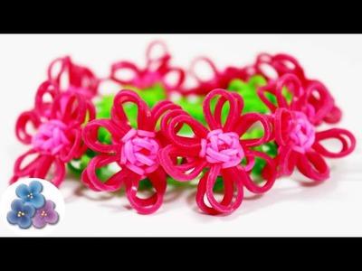 Como Hacer Pulseras de Gomitas FACIL con Flores Tutorial Rainbow Loom DIY con telar Pintura Facil