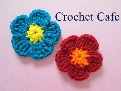 كروشيه وردة بسيطة ب 2 لون | كروشيه كافيه | Crochet Cafe