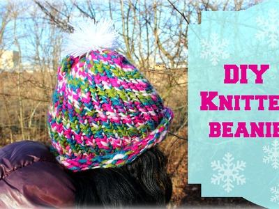 DIY knitted beanie inspired by SaraBeautyCorner