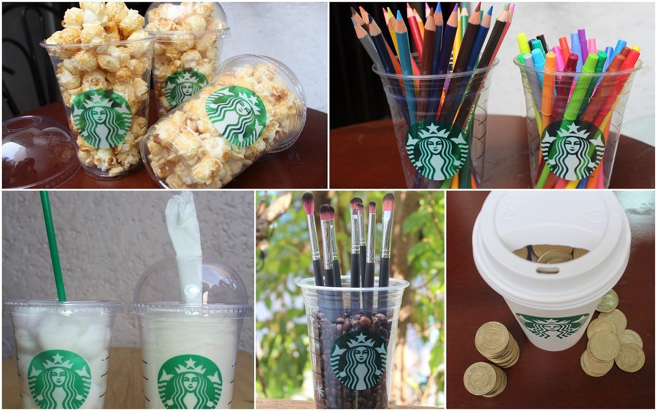 DIY room decorations + containers using Starbucks cups