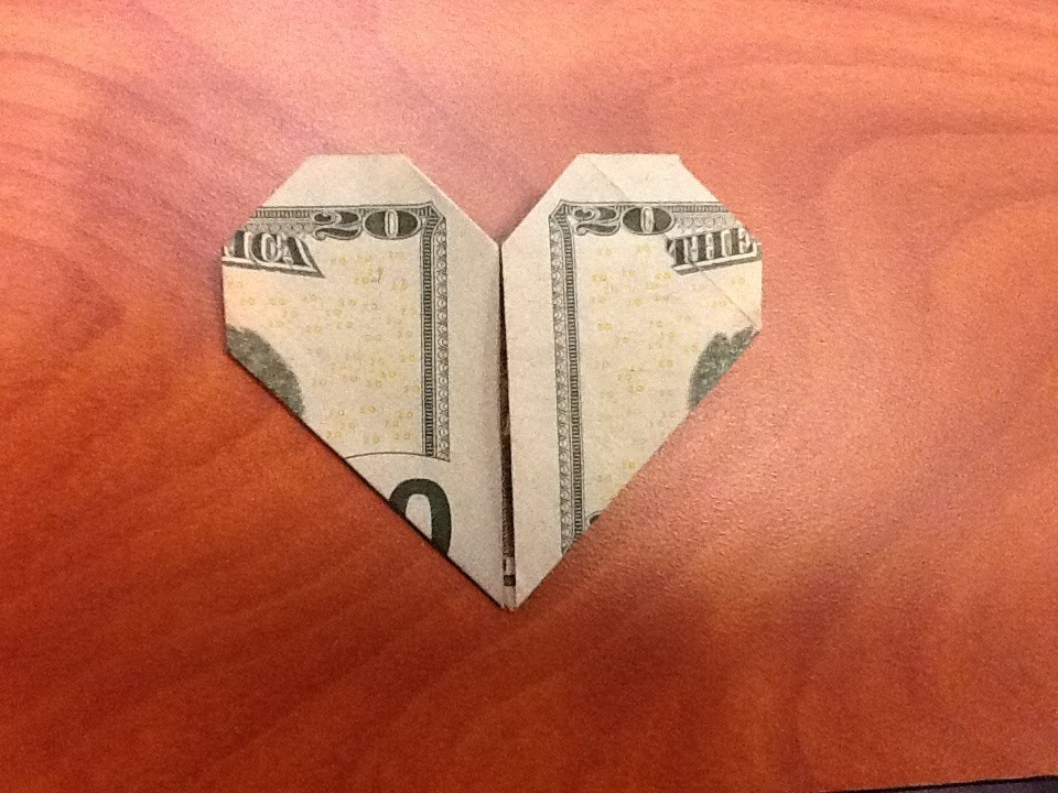 Dollar Origami: Easy Valentine's Heart