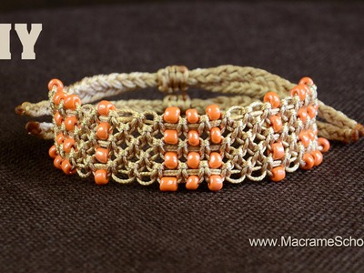 Easy Square Knot Bracelet with Beaded Lines [DIY]