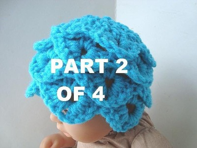 How to crochet a CROCODILE STITCH BABY  HAT, PART 2 OF 4.