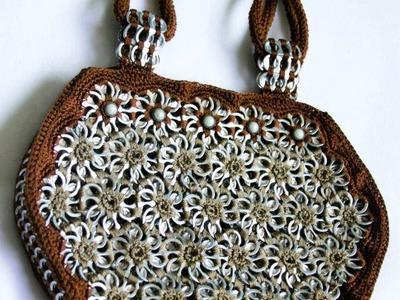 "How to crochet a handbag with soda pop tabs: ""Queta Purse"" part 3"