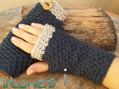 Mitones (Guantes sin dedos ) a Crochet. Punto cruzado