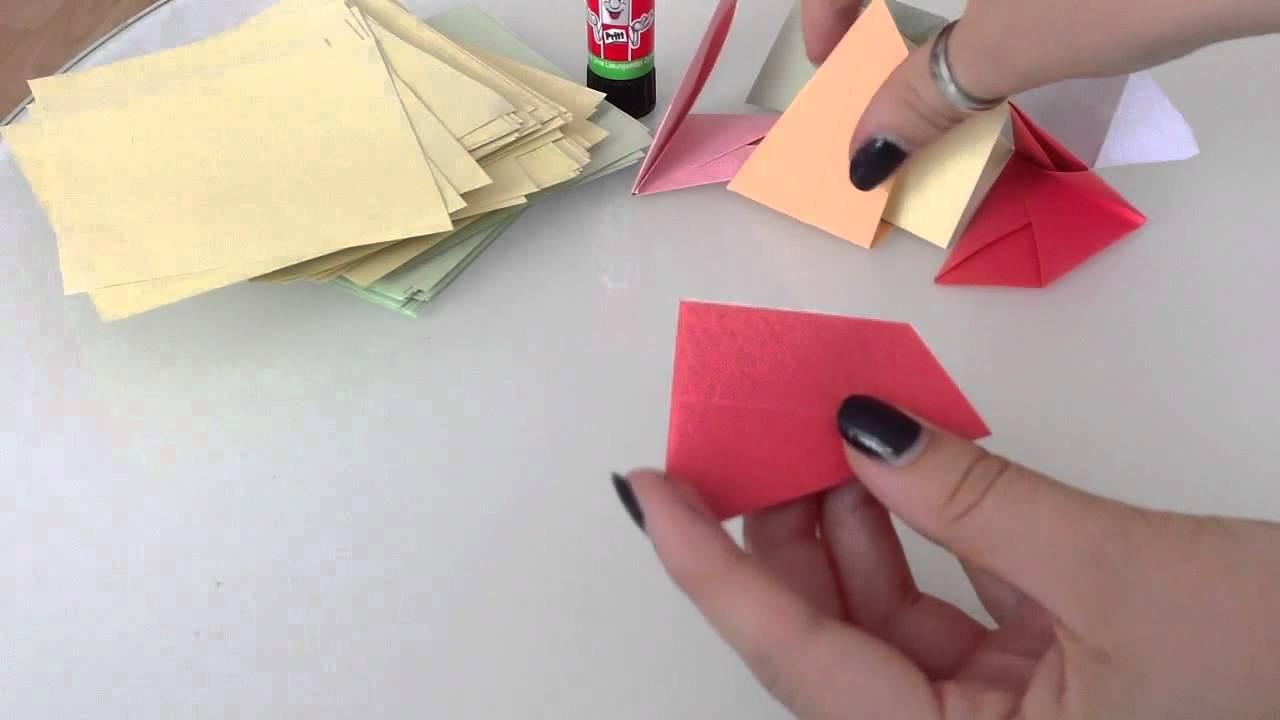 Origami Pfau - Faltanleitung Origami Vogel. Papier Pfau