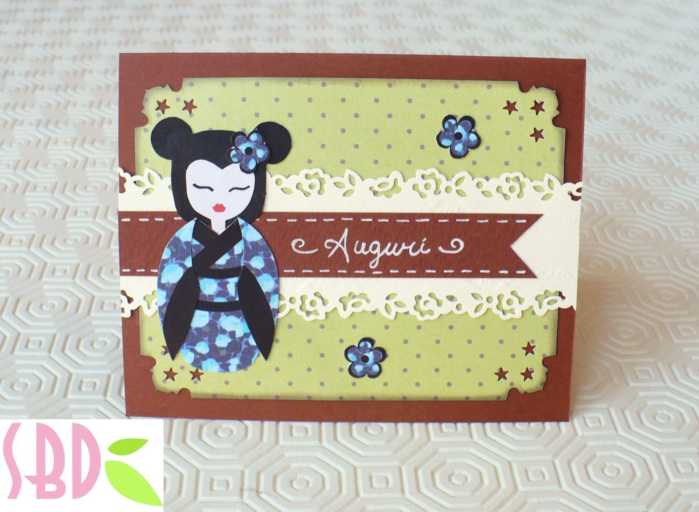 Scrapbooking tutorial: Card Auguri Geisha