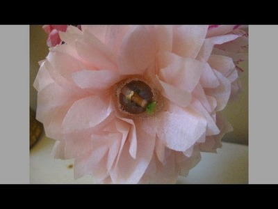 Tissue Paper Flowers with Bead.  Easy and Pretty Decorations!
