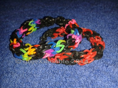 Twisted rainbow loomband bracelet made on mini knitting loom