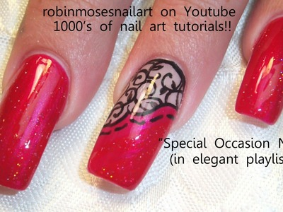 3 Nail Art Designs | Red and Black Lace Design | Long Nail Art Tutorial