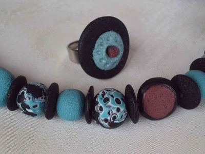 "Collana ""porosa"" Volcanic Beads (polymer clay beads. perle in fimo)"