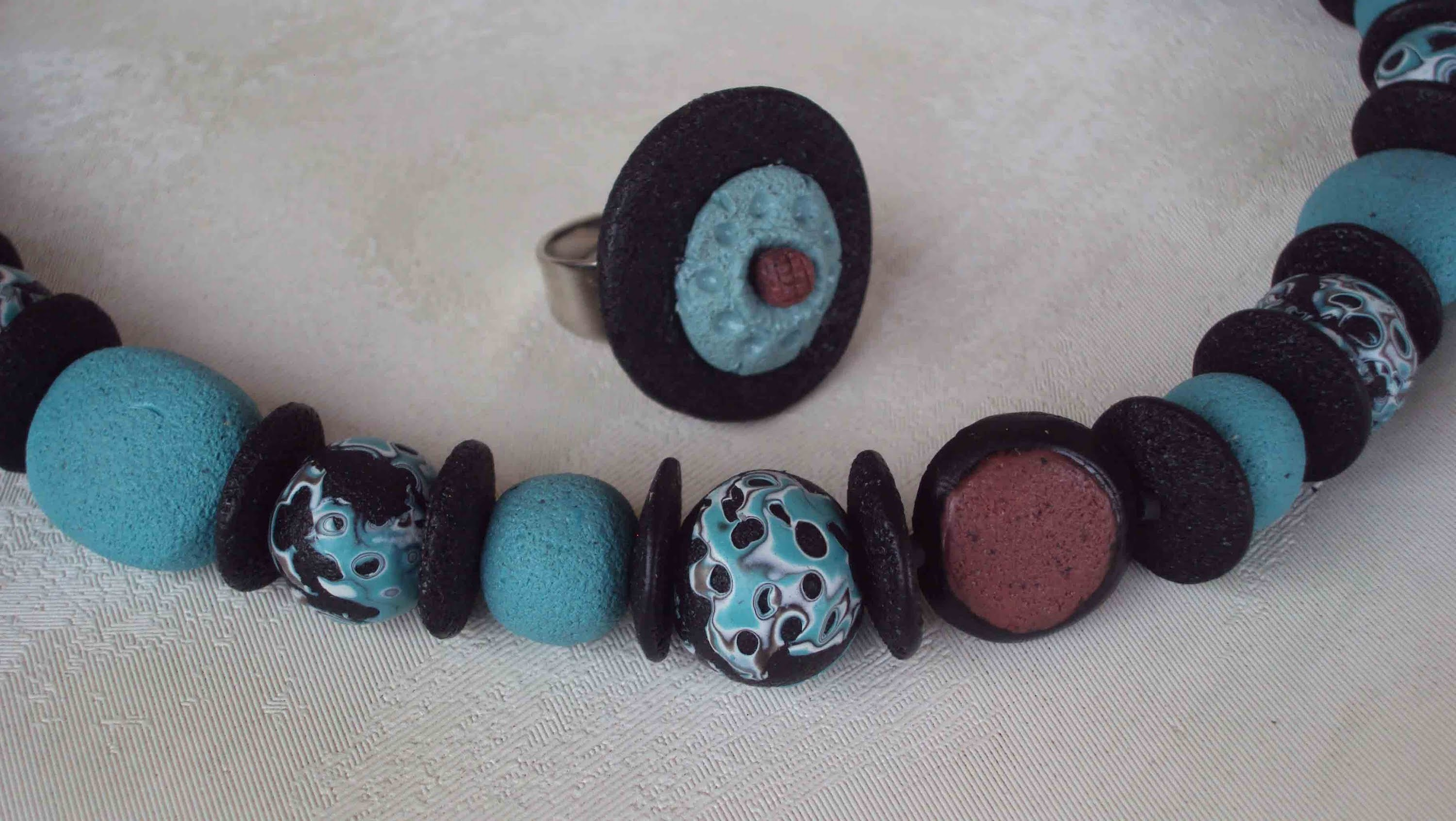 """Collana """"porosa"""" Volcanic Beads (polymer clay beads. perle in fimo)"""