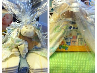 Craft ideas: baby shower gift-stork diaper bundle