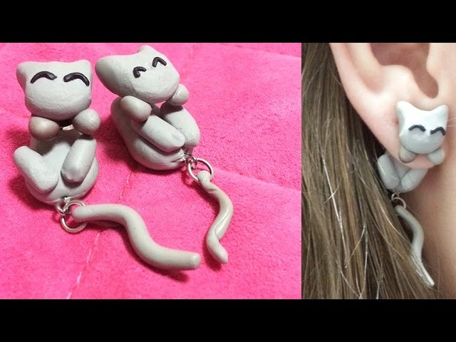 Crafting with YouTubers: Dangling Kitty Earrings Polymer Clay Tutorial Ft Sharla in Japan
