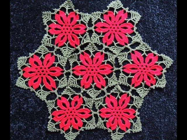 Crochet : Flor de Navidad # 2.  Uniones