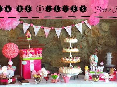 Decoracion Mesa de dulces ,Pompón de cartulina Scrapbook