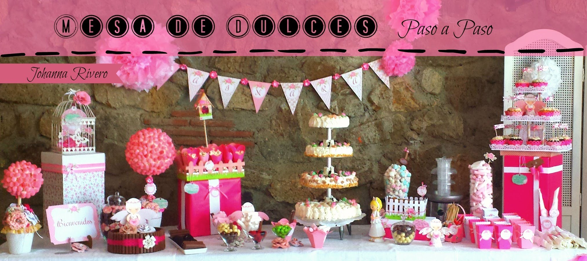 Decoracion mesa de dulces pomp n de cartulina scrapbook for Decoracion mesas dulces