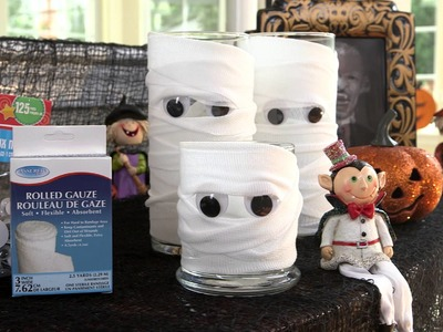 Dollar Tree Halloween Craft Idea - Mumified Candles