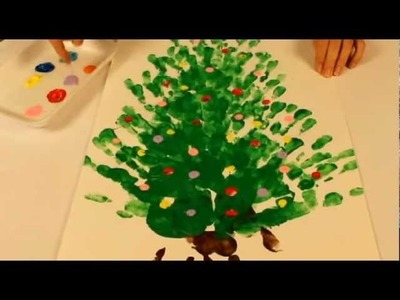 Finger painting Christmas craft: Paint a Christmas Tree