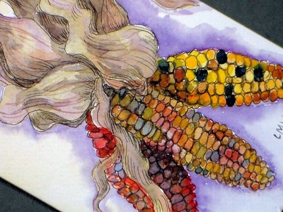 How to Paint Decorative Corn in Watercolor.Pen & Ink-Craft for Thanksgiving