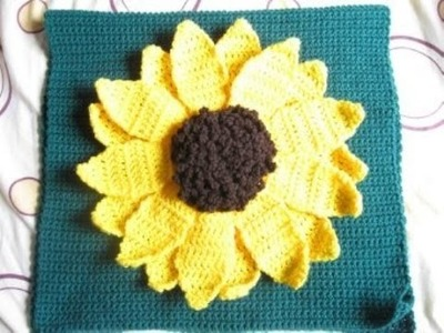 Large Sunflower Pillow pt 4 - Left Handed Crochet Tutorial