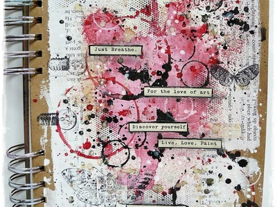 'Moth' mixed media art journal page