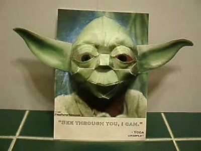 Papercraft 3D Yoda Illusion - he's watching you!