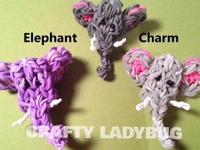 Rainbow Loom Charm ELEPHANT CHARM How to Make by Crafty Ladybug