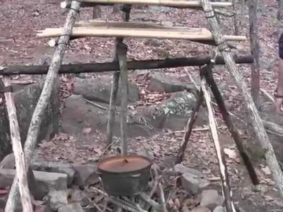 The Best Bushcraft Camp Fire Setup Part 3- Adjustable Pot Hanger