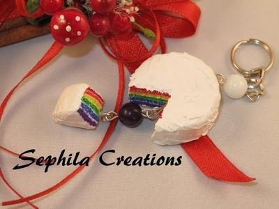 "Tutorial: Portachiavi ""Rainbow cake"" (polymer clay tutorial) [eng-sub]"