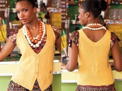#24 Diagonal Front Vest, Vogue Knitting Spring.Summer 2011
