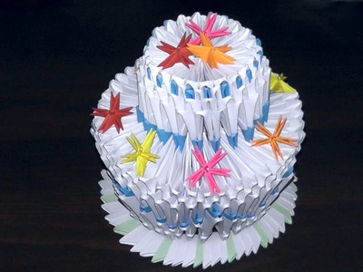 3D origami birthday cake (pie) tutorial