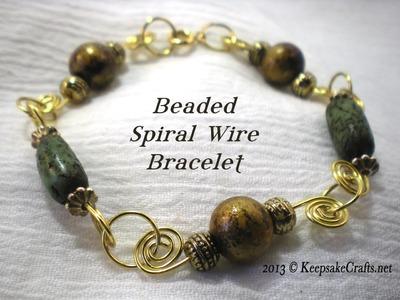 Beaded Spiral Wire Bracelet Video Tutorial
