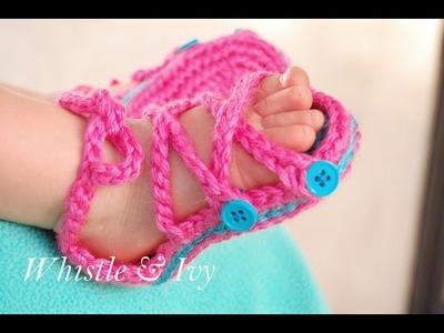Button Gladiator Sandals Crochet Pattern