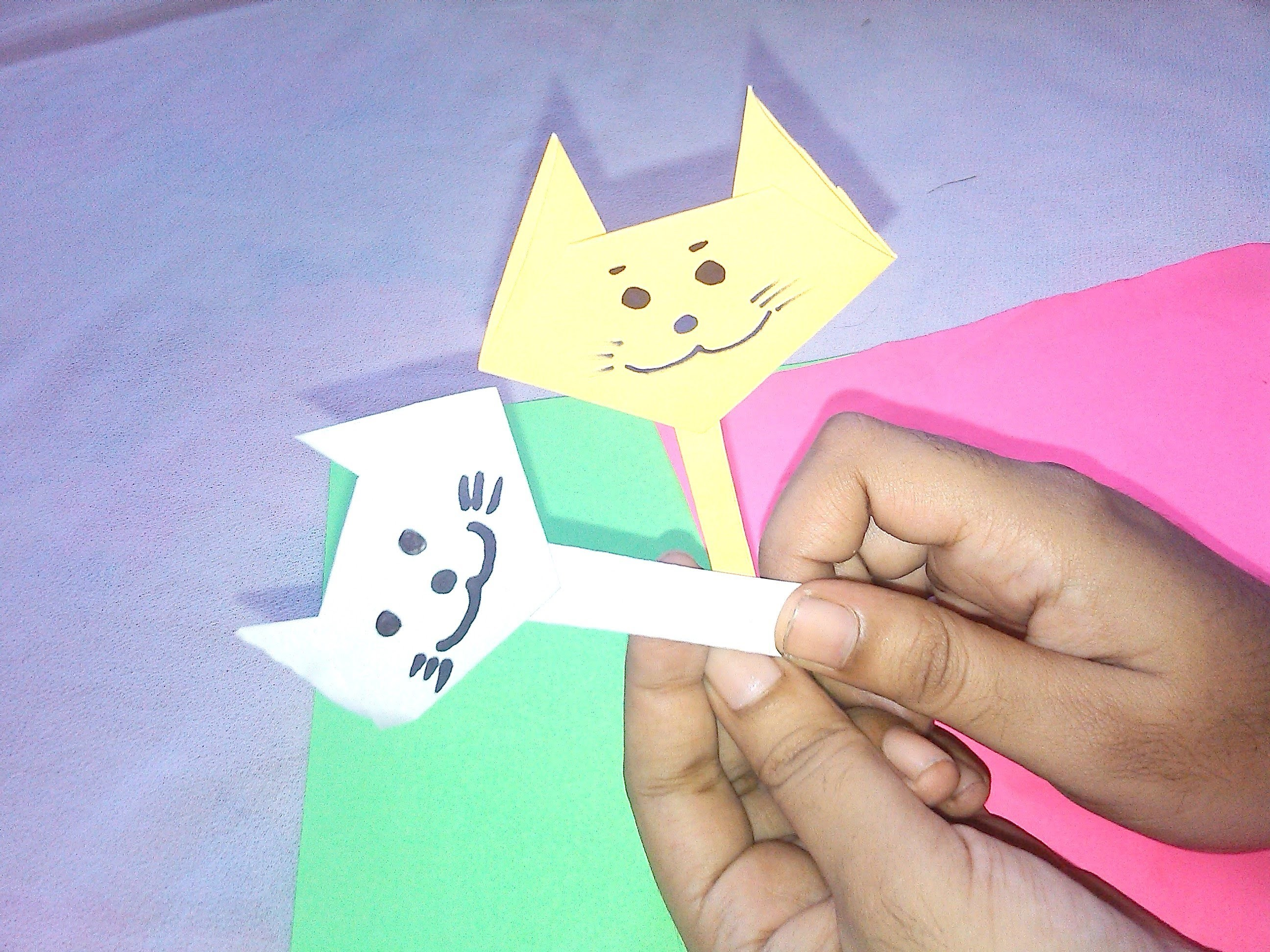 Cat Face Origami Paper Crafts For Kids