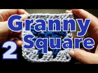 Cómo cambiar de color en cuadrado (change colour in granny's) reeditado -tejido para zurdos-