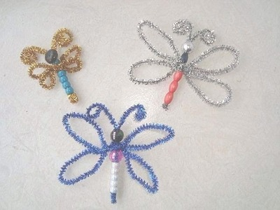 CRAFTS FOR KIDS How to make a BEADED DRAGONFLY or BUTTERFLY.