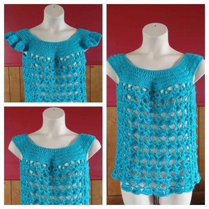 #Crochet Women's L.XL Top Shirt with optional sleeves #TUTORIAL