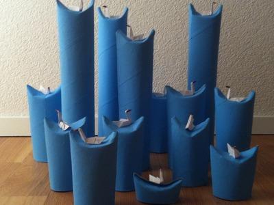 Dekoration Origami Schwäne auf Wasserwellen Deko Papier Schwan Klopapierrollen DIY Selbermachen