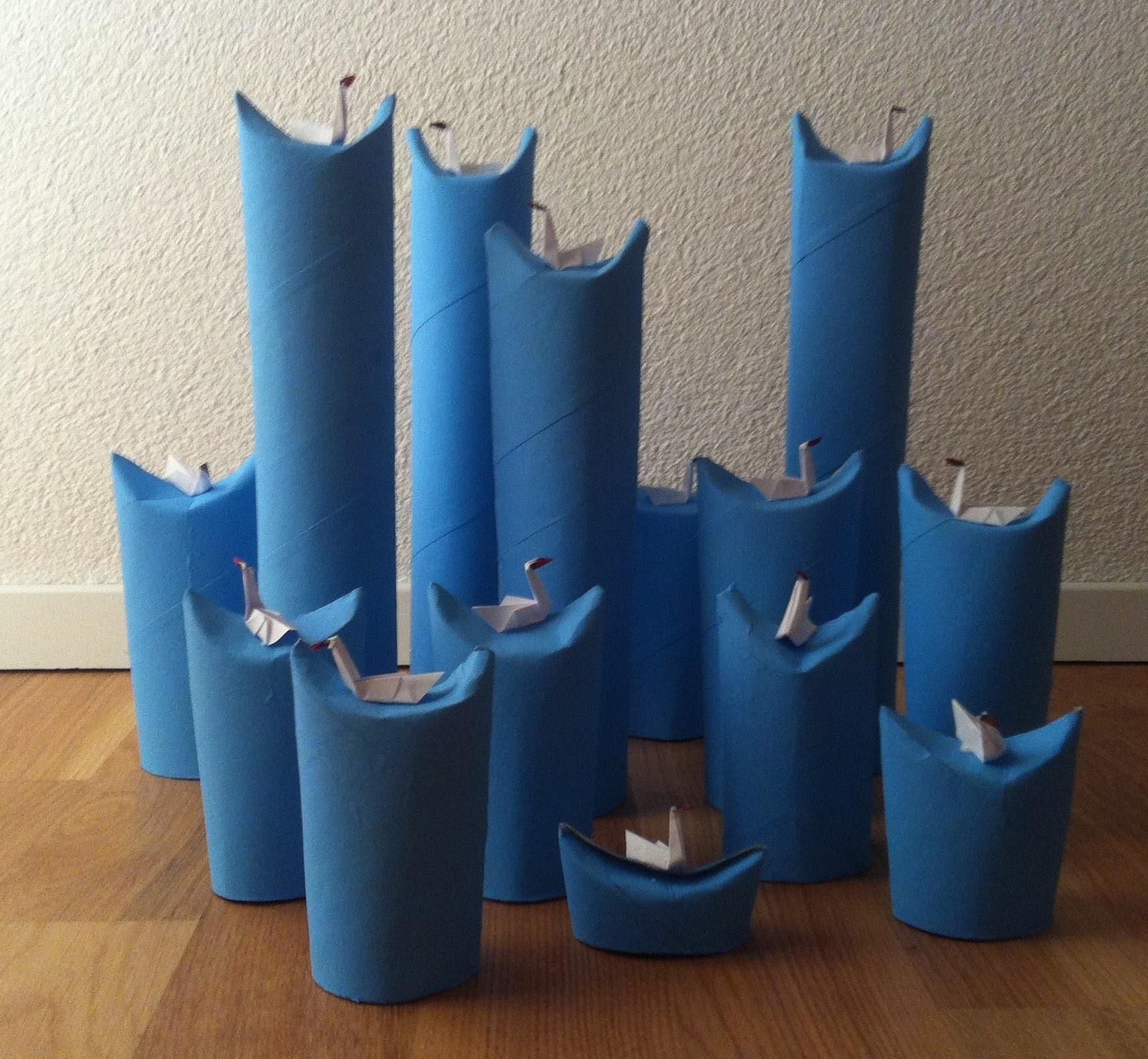 Dekoration origami schwäne auf wasserwellen deko papier schwan ...
