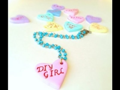 DIY  Valentine's Day Candy Heart Jewelry from polymer clay and stamps