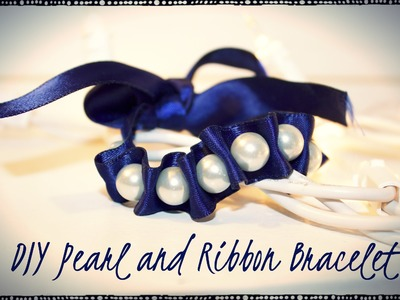 Easy DIY Pearl and Ribbon Bracelet